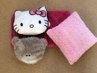 Girls bedroom Hello Kitty cushion Tatty Teddy PJ case pink soft throw and cushion