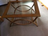 Wooden coffee table with glass insert - excellent condition