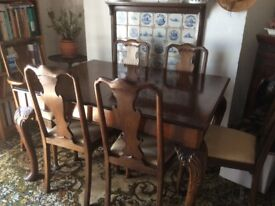 Walnut veneer antique dining table and chairs