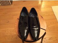 Dune Black patent leather shoes. Size 42 Worn once only. As new.