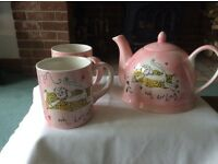 Whittard teapot and two mugs