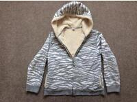 Girl's Land's End fleecy lined zip up hoodie, age 10-12 excellent condition