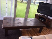 Rustic large coffee table.
