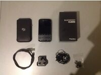 Blackberry Classic Q20 16gb. As new, unlocked and unmarked. Leather case, charger, earphones and box