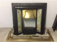 Antique cast iron fireplace, brass hood and fender, all night burner