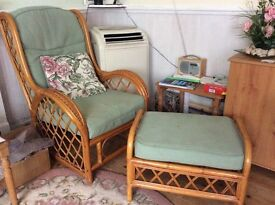 2 matching wicker arm chairs and foot stool