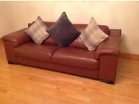 Brown Leather 3 Seater, 2 Seater and Swivel Armchair