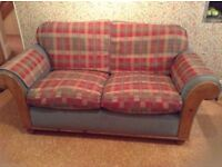 Checked two seater sofa