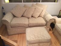 3seat sofa, 2 recliner chairs and footstool, good condition