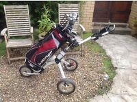 GOLF CLUBS DUNLOP 65i COMPLETE SET AND MORE / EZE GLIDE TROLLEY ( EXCELLENT CONDITION )