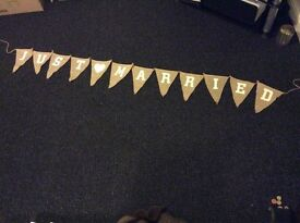 """Hessian Bunting Decoration """"Just Married"""""""