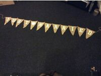 "Hessian Bunting Decoration ""Just Married"""