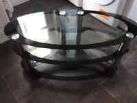 GLASS AND CROME TV STAND