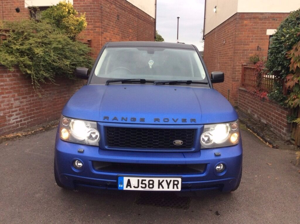 2008 58 range rover sport 2 7 hse professionally wrapped in matt blue in salford manchester. Black Bedroom Furniture Sets. Home Design Ideas