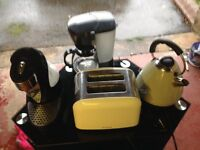 Four kitchen accessories - kettle,coffee maker, toaster and water boiler