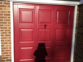 Garage door red steel up and over Georgian style