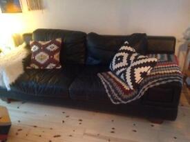 Extra large Italian black leather 3 seater sofa