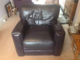 Leather Armchair, Dark Purple, Good condition.