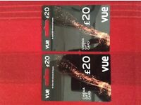 Cue cinema gift cards £40