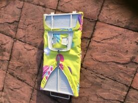Ironing board foldable so packs away for small storage