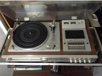 Record player with cassette player.