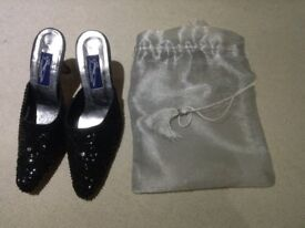 Ladies black sequin back less shoes, size 5, brand new unused.