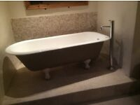 Bath, cast iron, free standing and mixer tap unit
