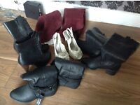 Ladies leather boots red ones size 5 the rest are size 4. The shoes are size 4