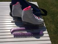 Girls ice skates Size 3 with bag and guards