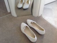 White patient wedding/ bridesmaid shoes