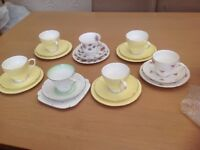 7 piece China teaset with a mixture of pattern/designs. Great fior Shabby Chic tea parties !