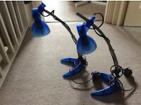 A PAIR OF BLUE IKEA MORKER LAMPS / SPOT LIGHTS WITH BULBS