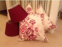 3 cream and cranberry embroidered cushions, 2 cranberry silk lampshades - all from Laura Ashley