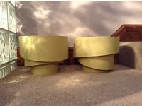 2 retro style green lamp shades