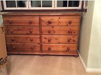 Matching pine wardrobe, chest of 6 drawers and bedside cabinet in excellent condition.
