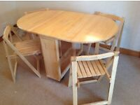 Gate leg table and folding chairs