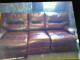 Purple leather recliner sofa