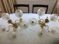 Pair of 5 way gold ceiling lights