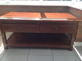 Rosewood coffee table, purchased from multiyork. With two draws with brass handles