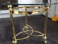 GLASS COFFEE/SIDE TABLE BRASS EFFEFT