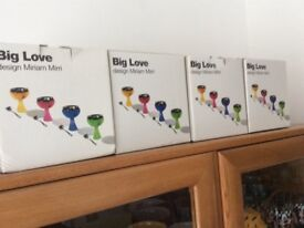 VALENTINE DAY [ DI ALESSI - BIG LOVE - DESERT BOWLS AND SPOONS = FOUR - NEW - BOXED