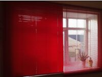Red Venetian blinds