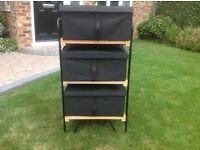 IKEA CANVAS STORAGE BOXES (3) WITH WOODEN RACK. £15