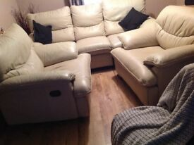 Real ivory leather reclining 3 piece suite