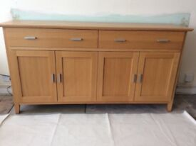 Solid Oak Sideboard and Matching Mirror