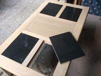 4 Foot Light Oak Coffee Table with Dark Grey Slate Inserts