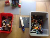 Lego in 2 boxes with 2 grey base boards