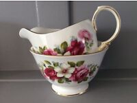 Queen Anne Bone China Pink Floral Milk Jug and Sugar Bowl.