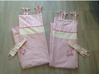 NEXT LITTLE CHICKIE GIRLS PINK NURSERY BEDROOM CURTAINS WITH TIEBACKS 53x54 - LEICESTER