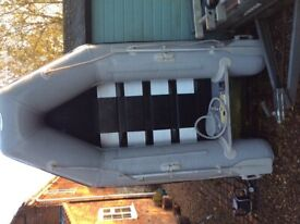 Inflatable dinghy, electric outboard and bsttery
